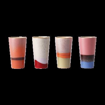 Ceramic 70's latte mugs || Set van 4